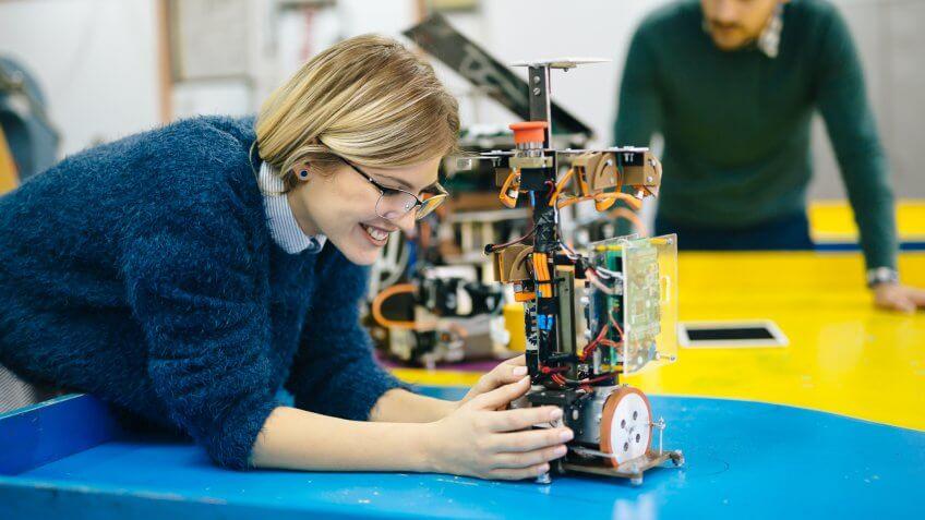 female engineer with robotics