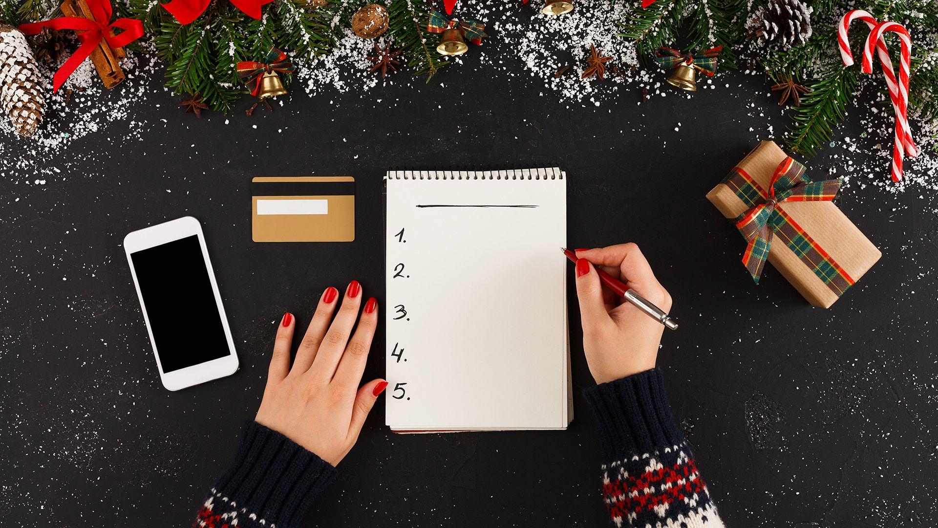 Christmas wish list writing.