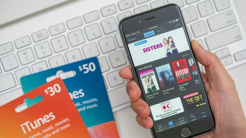 iPhone with iTunes gift cards