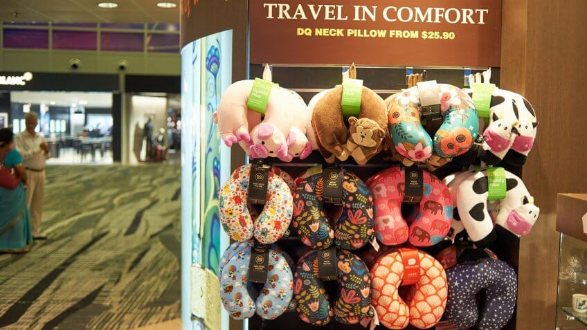 neck pillows for sale at an airport