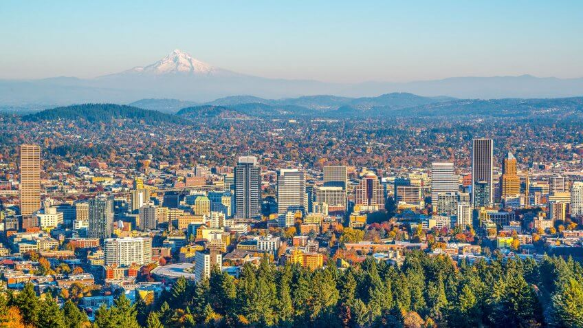 City of Portland Oregon and Mount Hood in Autumn.
