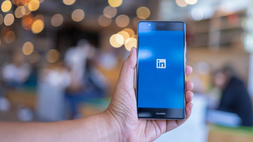 smartphone with LinkedIn
