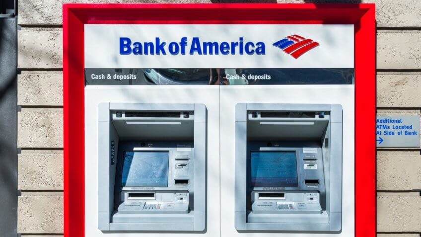 February 21, 2018 San Jose / CA / USA - Bank of America ATM's located at one of the bank's branches, San Francisco bay area - Image