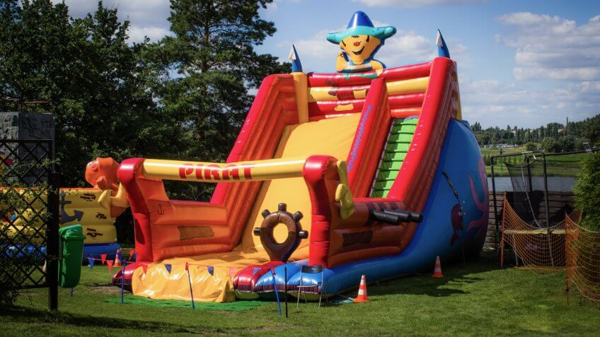 a bounce house set up in the park