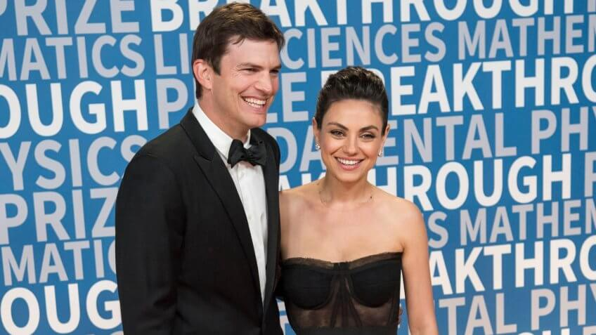 Mandatory Credit: Photo by Peter Barreras/Invision/AP/REX/Shutterstock (9255032c)Ashton Kutcher and Mila Kunis arrive at the 6th annual Breakthrough Prize Ceremony at the NASA Ames Research Center on in Mountain View, California6th Annual Breakthrough Prize Awards, Mountain View, USA - 03 Dec 2017.