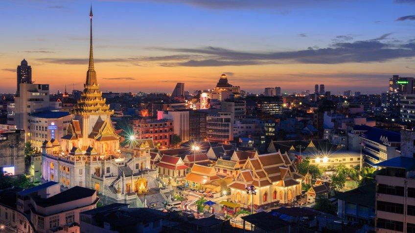 Wat Traimit Witthayaram Worawihan,Temple of the Golden Buddha in Bangkok, Thailand,June 12, 2017.