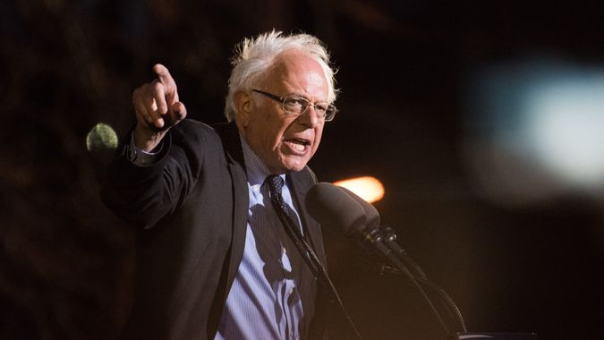 NEW YORK CITY - MARCH 31 2016: Democratic presidential candidate Bernie Sanders appeared before thousands of supporters at St Mary's Park, The Bronx.