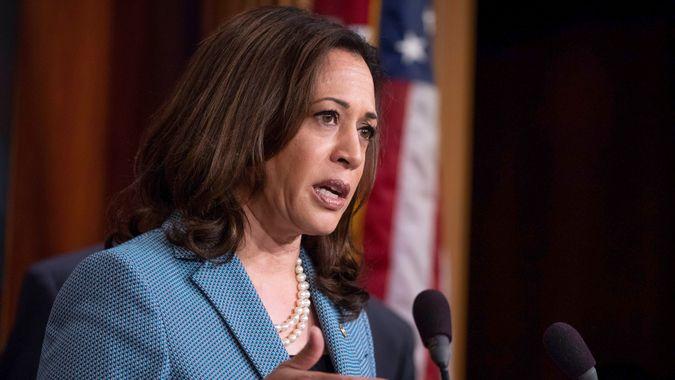 Senator Kamala Harris, Democrat of California, speaks during a press conference held by Senate Democrats