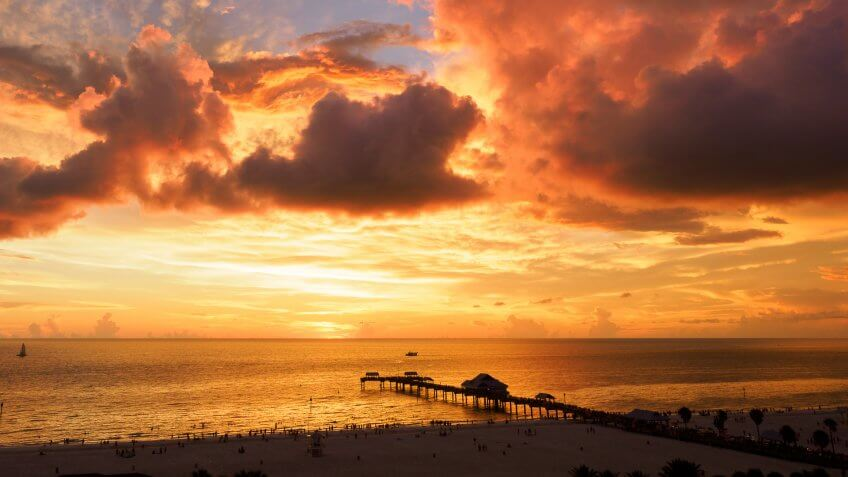 A stunning sunset at Clearwater beach, Florida.