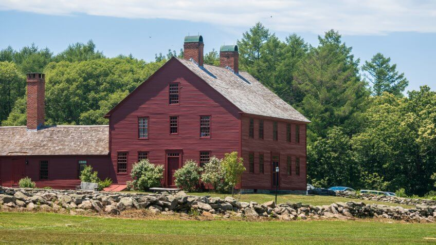 Coventry, Connecticut / USA - June 20 2018: Nathan Hale homestead on a sunny summer day.