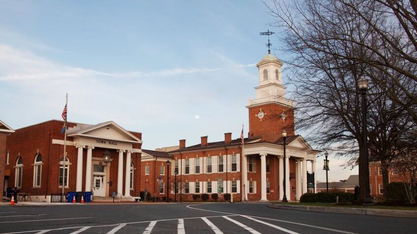 GEORGETOWN, DELAWARE - APRIL 4, 2018: The Circle, in Georgetown, Delaware is home to the city's Town Hall and the Sussex County Courthouse, among other historic buildings.