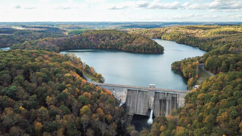Aerial of Pretty Boy Reservoir Dam in Hampstead, Maryland during Fall.