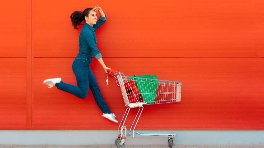 Excited supermarket customer on sale season.