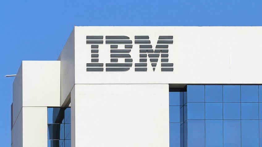 DUBAI, UAE - DECEMBER 1, 2017: Sign of IBM on the office building .