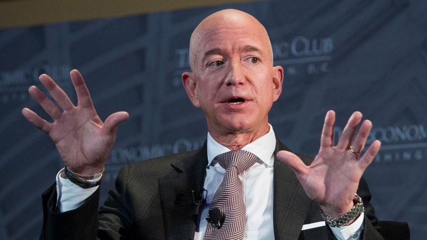 Mandatory Credit: Photo by Cliff Owen/AP/REX/Shutterstock (9881740g)Jeff Bezos, Amazon founder and CEO, speaks at The Economic Club of Washington's Milestone Celebration in Washington, .