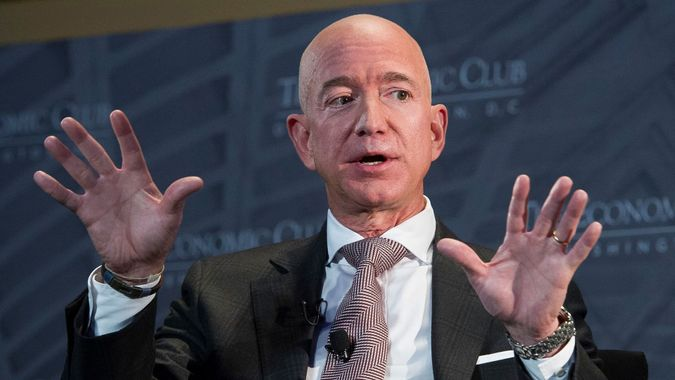 Mandatory Credit: Photo by Cliff Owen/AP/REX/Shutterstock (9881740g)Jeff Bezos, Amazon founder and CEO, speaks at The Economic Club of Washington's Milestone Celebration in Washington, .