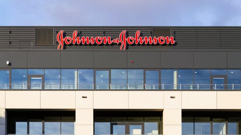 Prague, Czech Republic - January 6, 2018: Johnson & Johnson company logo on headquarters building on January 6, 2018 in Prague, Czech Republic.