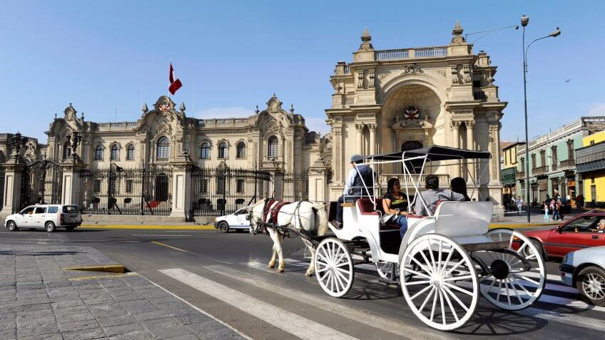 LIMA, PERU, MARCH 01: Carriage rolled tourists every Sunday and holidays by the Presidential Palace at Plaza de Armas in Lima, Peru, 01 march, 2011.