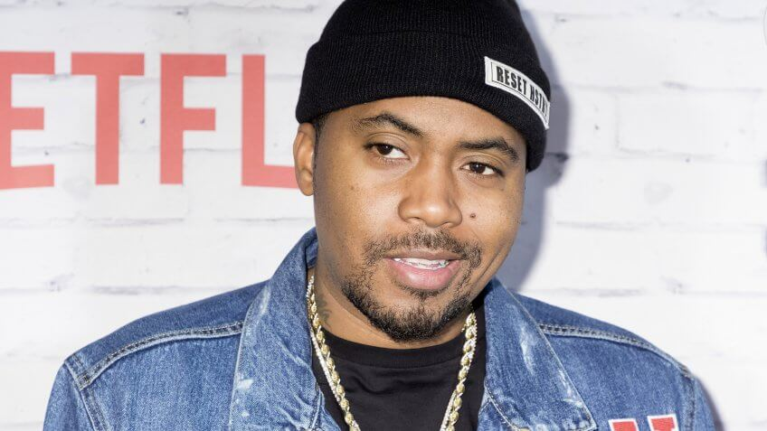 New York, New York, USA, April 5, 2017: Executive Producer Nas attends New York Kickoff Party for the Netflix The Get Down season One Part Two at Irving Plaza, Manhattan.