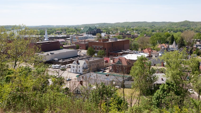 """A view on Parkersburg, West Virginia from a nearby hill""."