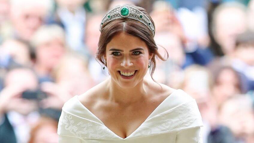 Mandatory Credit: Photo by REX/Shutterstock (9927742ak)Princess EugenieThe wedding of Princess Eugenie and Jack Brooksbank, Ceremony, St George's Chapel, Windsor Castle, Berkshire, UK - 12 Oct 2018.