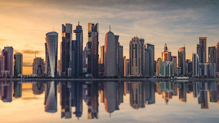 The skyline of Doha, Qatar during sunset.