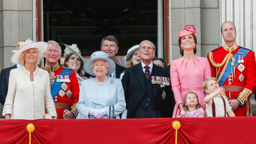 Mandatory Credit: Photo by AP/REX/Shutterstock (8871167z)Members of Britain's Royal family from left, Camilla, Camilla Duchess of Cornwall, Prince Charles, Princess Eugenie, Queen Elizabeth II, background Tim Laurence, Princess Beatrice, Prince Philip, Kate, Catherine Duchess of Cambridge, Princess Charlotte, Prince George and Prince William watch a fly past as they appear on the balcony of Buckingham Palace, after attending the annual Trooping the Colour Ceremony in LondonBritain Royals, London, United Kingdom - 17 Jun 2017.