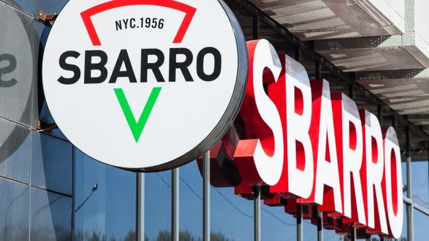 Minsk, Belarus, April 20, 2018: Signboard Sbarro on the building.