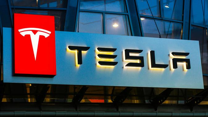 Concha Zaspa, Ukraine - July 20, 2018: Tesla sign on the building on car sales.