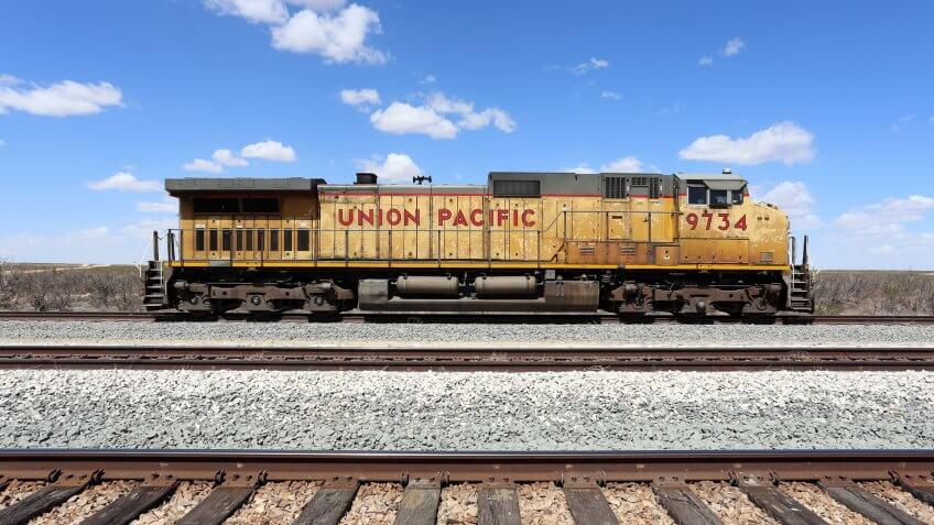 Texas land and Union Pacific Railroad train