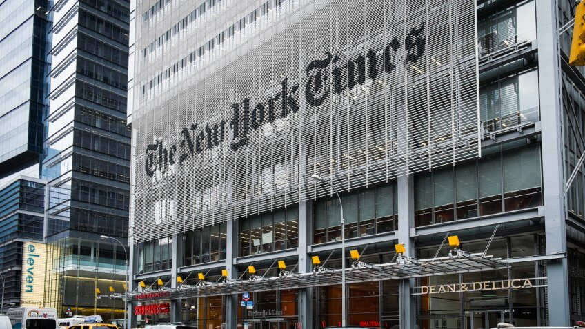 New York, USA- May 20, 2013: The front of The New York Times Building.