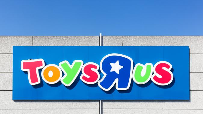 Odense, Denmark - April 2, 2017: Logo of the brand Toys r us.