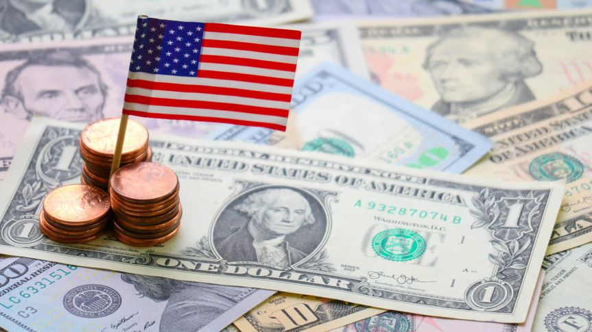 US flag sign and Dollar cash