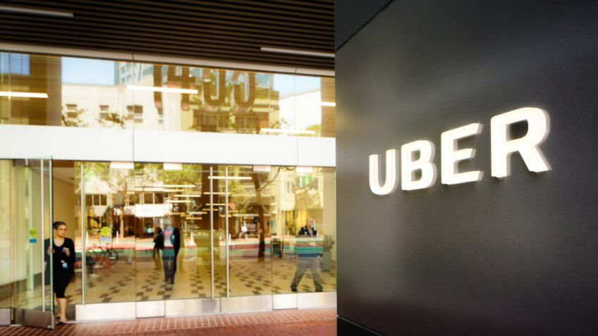 San Francisco, USA - May 12, 2016: Uber headquarters entrance in San Francisco with sign on the right.