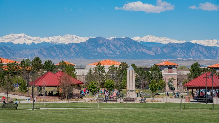 Westminster, MAY 5: Building with snow mountain as background on MAY 5, 2017 at Westminster, Colorado.
