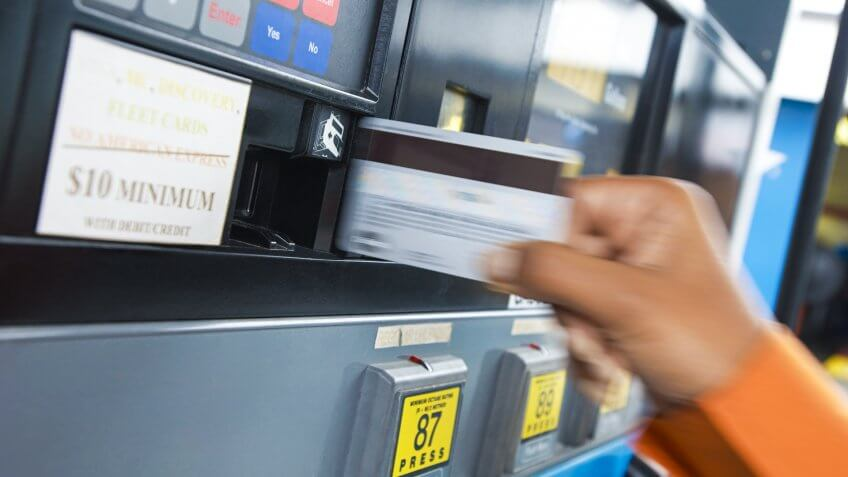 credit card transaction at gas station