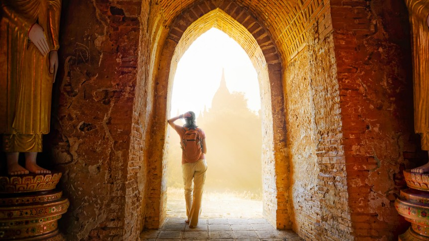person traveling in Myanmar Asia