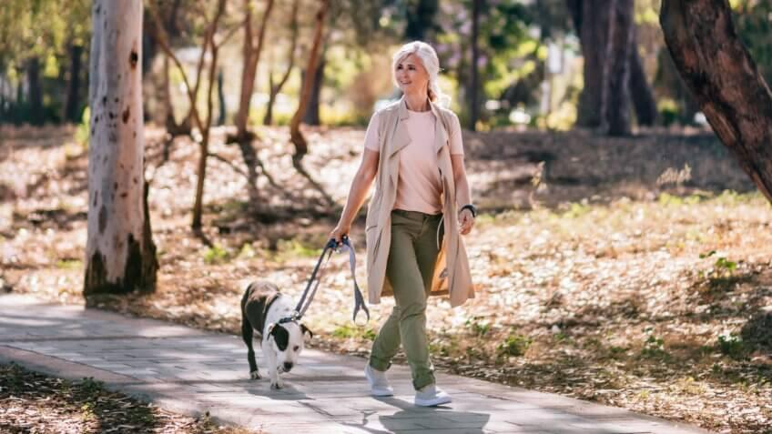 Happy active mature woman in fashionable clothes walking pet dog in forest park in summer.