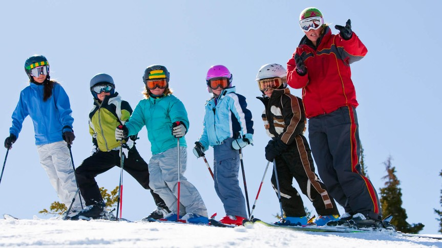 Ski school group.