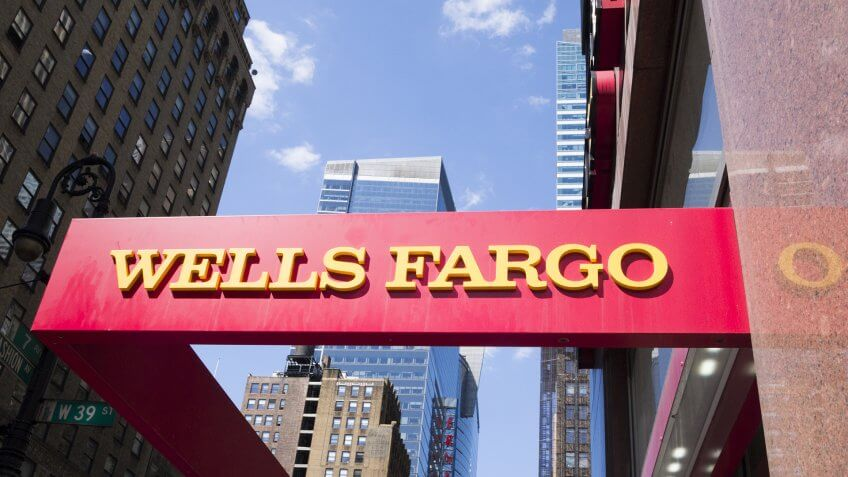 """New York, New York, USA - May 31, 2012: A Wells Fargo sign at a Wells Fargo location in Midtown Manhattan."