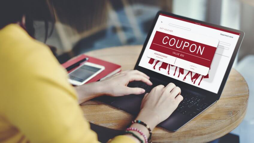 Coupon Discount Card Promotion Gift Voucher Concept.