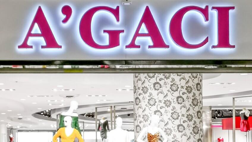 Houston, Texas, USA - September 22, 2018: Sign of A'GACI store in the mall in Houston, Texas.