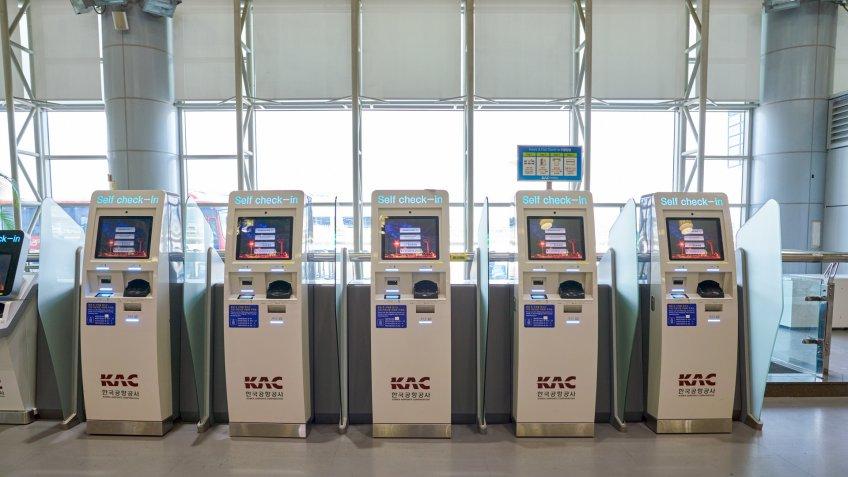 BUSAN, SOUTH KOREA - CIRCA MAY, 2017: self check-in kiosks at Gimhae International Airport, International Terminal.