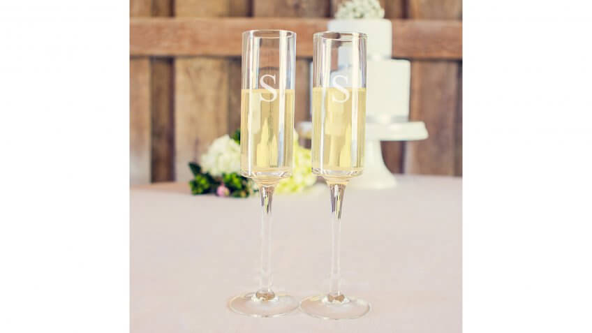 Cathy's Concepts Monogram Contemporary Champagne Flutes