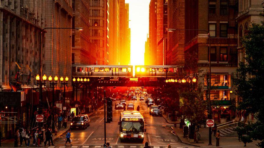 Chicago Millennium Park Sunset Between Buildings.