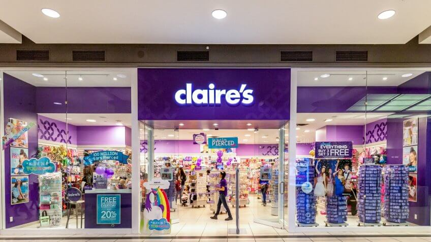Toronto, Canada - February 7, 2018: Claire's storefront in the Eaton Centre shopping mall in Toronto.