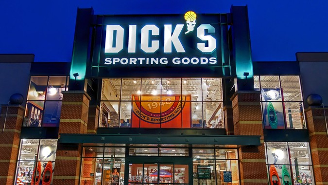 HDR image, Dick's Sporting Goods retail store entrance, twilight view - Saugus, Massachusetts USA - September 11, 2017.