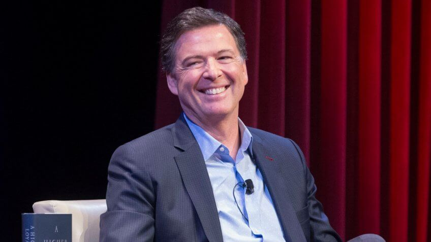 Mandatory Credit: Photo by MICHAEL REYNOLDS/EPA-EFE/REX/Shutterstock (9646779d)James Comey and Mike AllenFormer FBI Director James Comey, Washington, USA - 30 Apr 2018Former FBI Director James Comey (R) participates in a book discussion on his book 'A Higher Loyalty - Truth, Lies, and Leadership', with co-founder of Axios Mike Allen (L); at George Washington University in Washington, DC, USA, 30 April 2018.