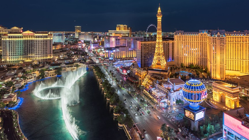 Las Vegas, USA - July 25, 2017: Aerial view of Las Vegas strip at night in Nevada.