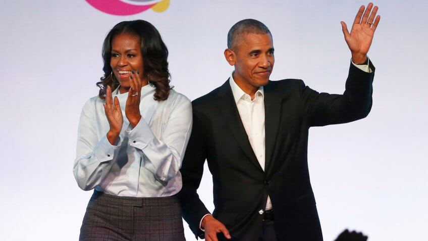 Mandatory Credit: Photo by AP/REX/Shutterstock (9184810a)Barack Obama, Michelle Obama.